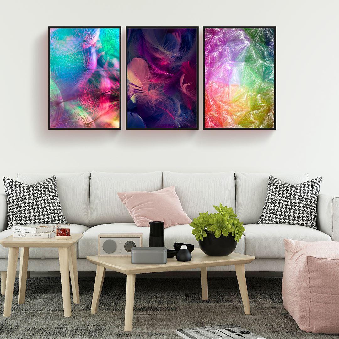 Renkli Tüyler Kanvas Set