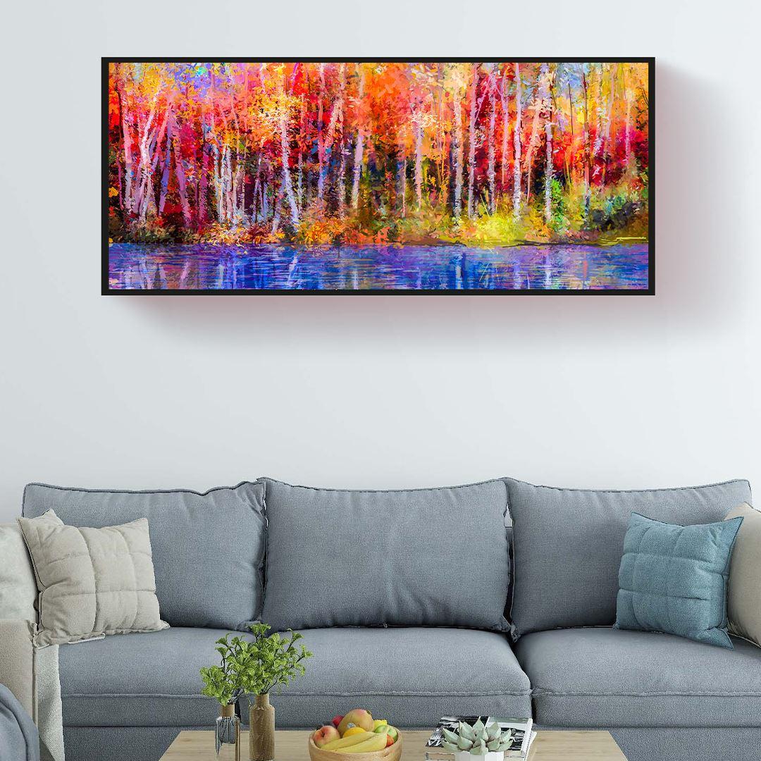Sonbahar ve Kavak Ağaçları Panaromik Kanvas Tablo