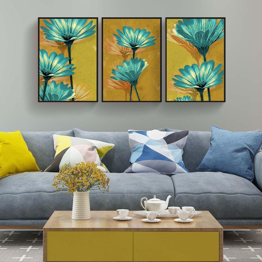 Blue Daisy Canvas Set