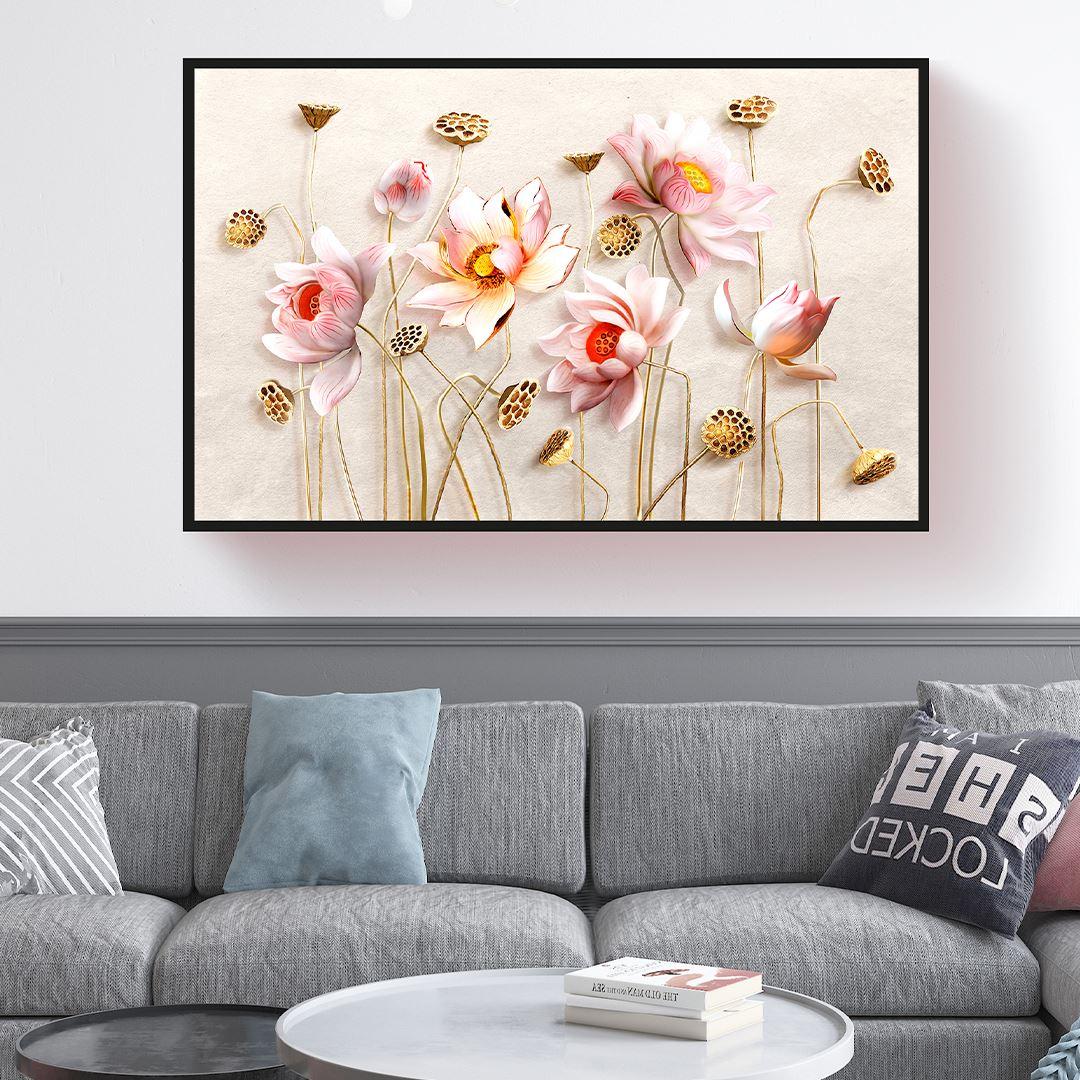 Kabartma Görünümlü Modern Çiçek Kanvas Tablo