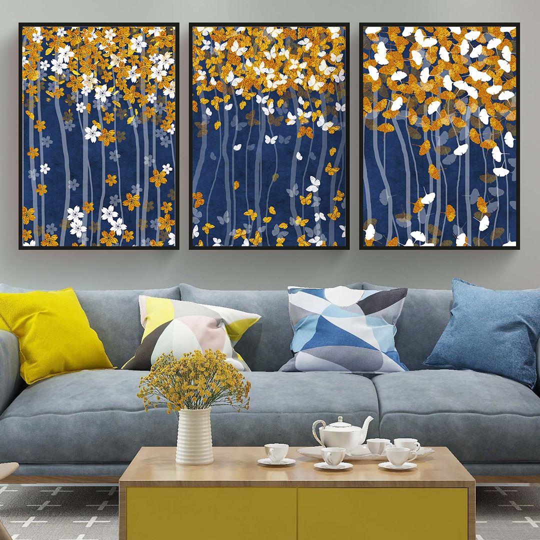 Yapraklar ve Kelebekler Kanvas Set