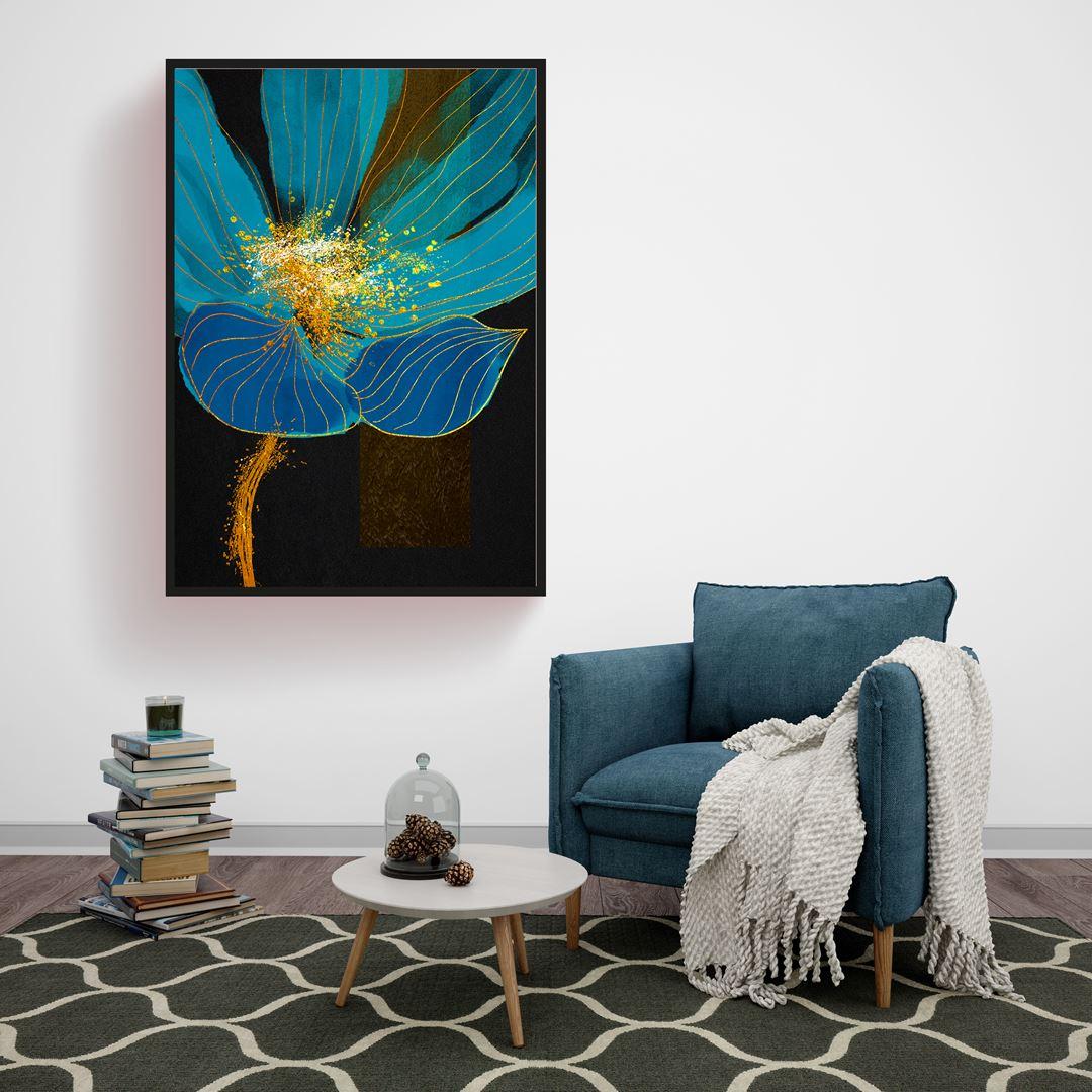 Blue Large Floral Canvas