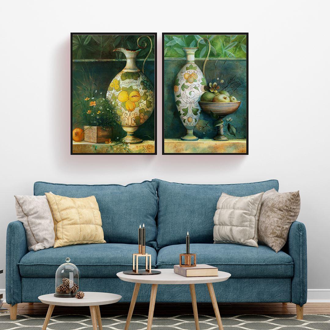Yağlı Boya Görünümlü Modern Vazolar Kanvas Set