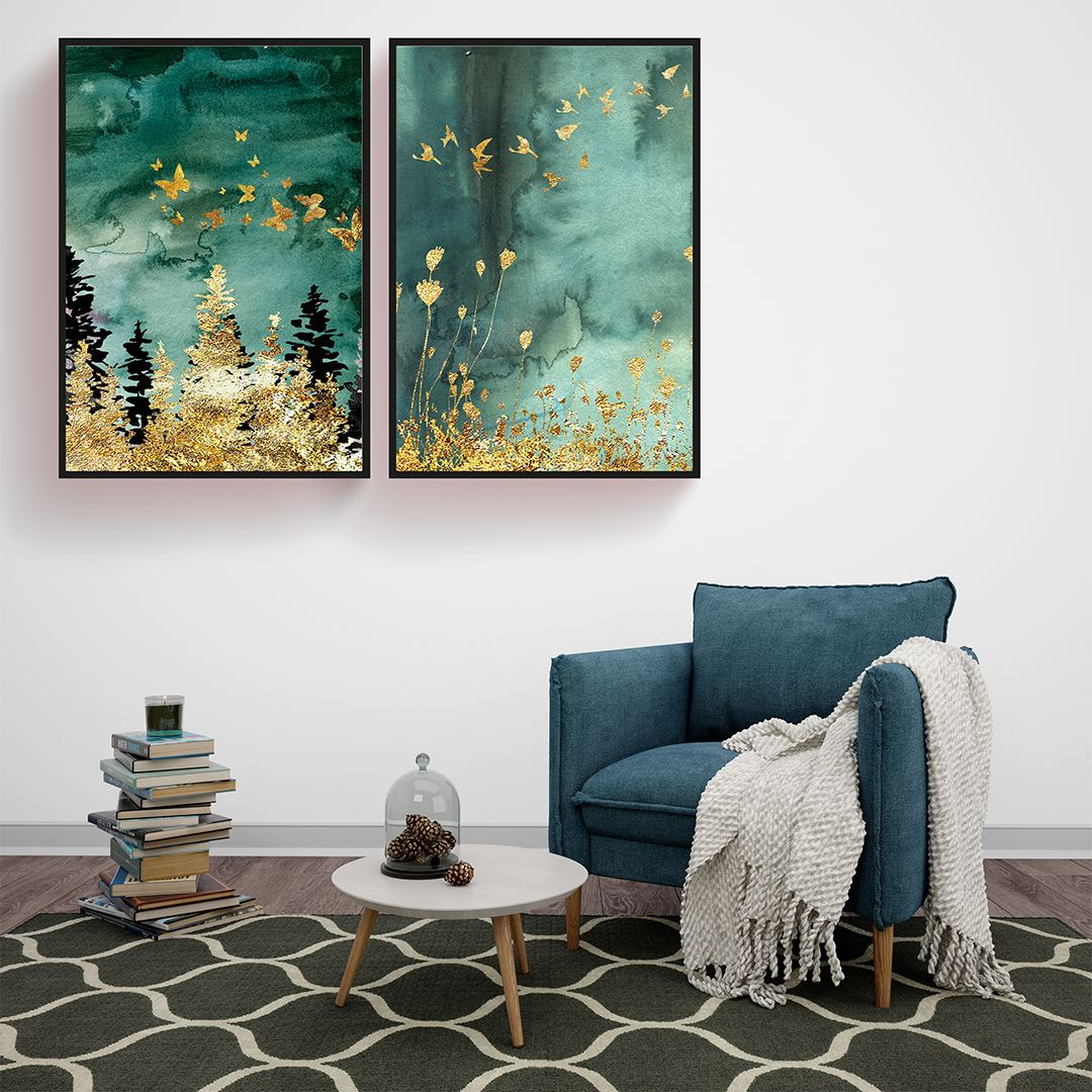 Luxury Gold Butterfly Canvas Set