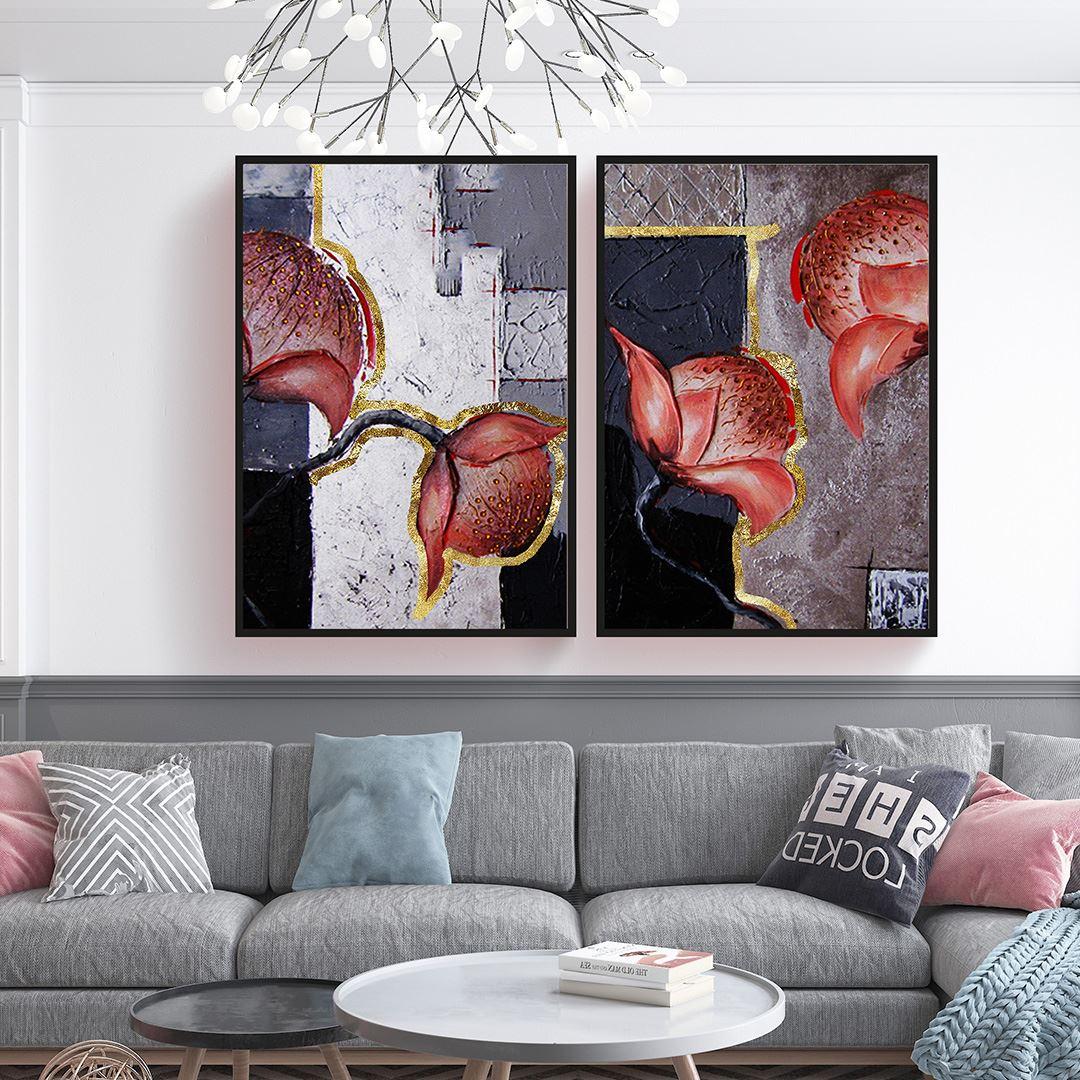 Yağlı Boya Görünümlü İskandinav Çiçekler Kanvas Set