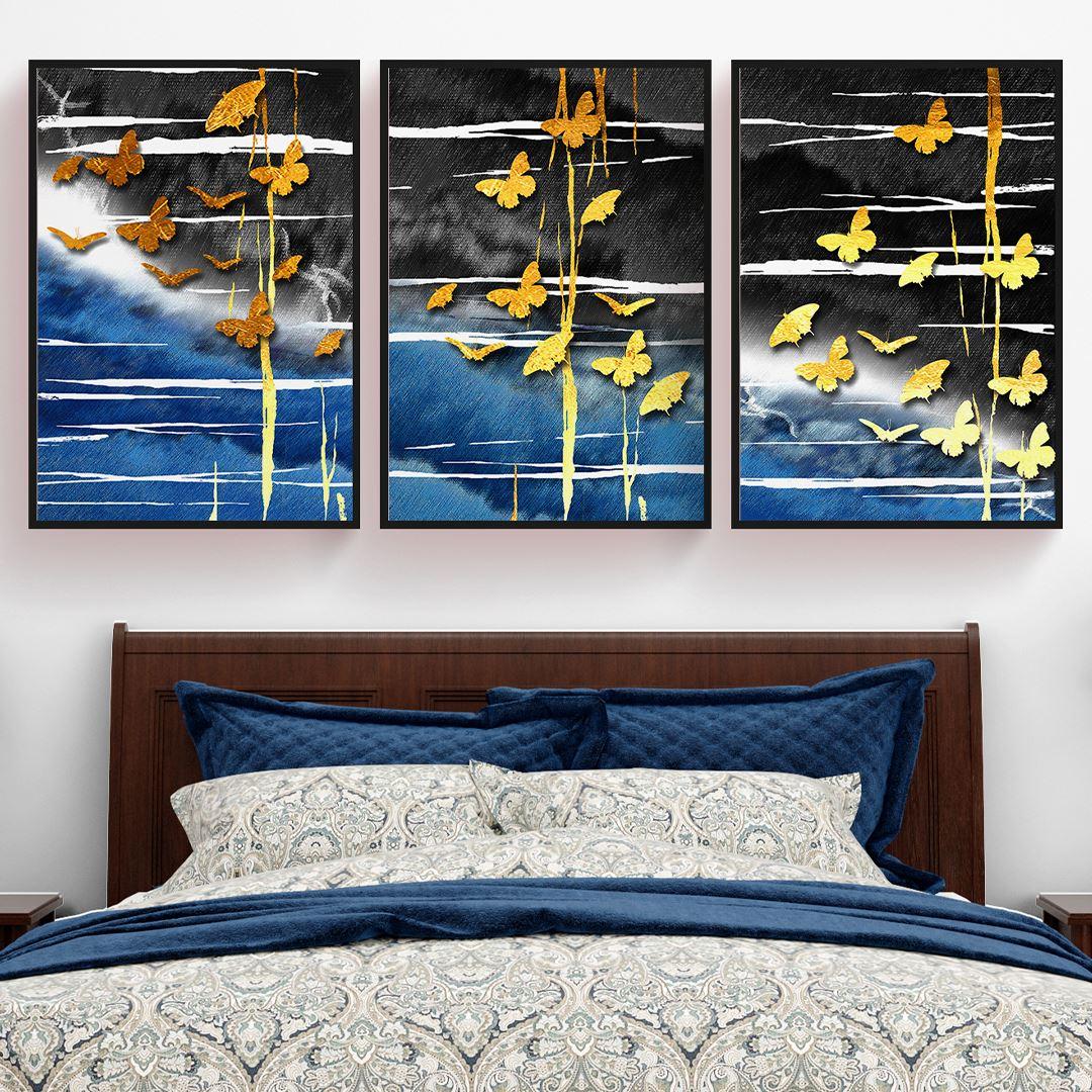 Altın Kelebekler Kanvas Set