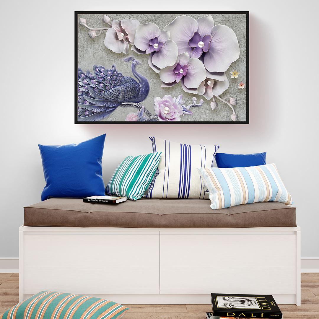 Modern Çiçek&Tavuskuşu Kanvas Tablo