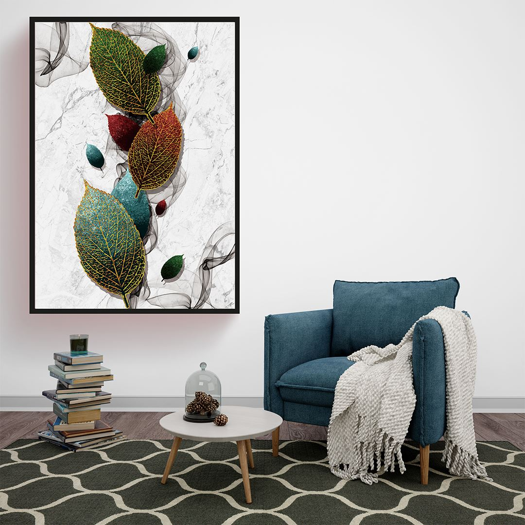 Minimalist Modern Yapraklar Kanvas Tablo