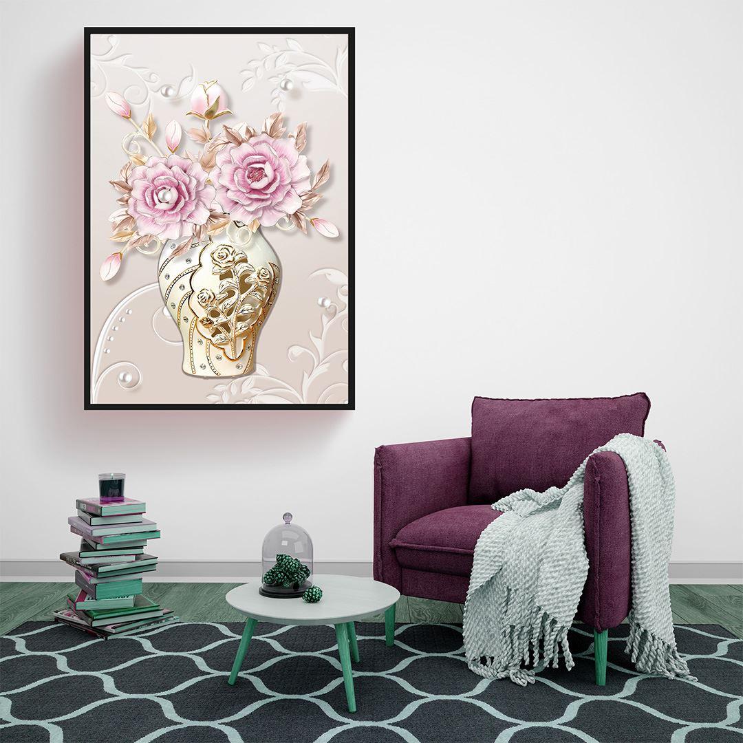 Modern Vazo Güller Kanvas Tablo