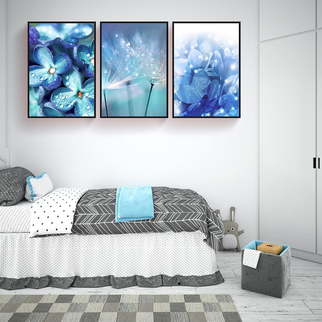 Blue Floral Canvas Set