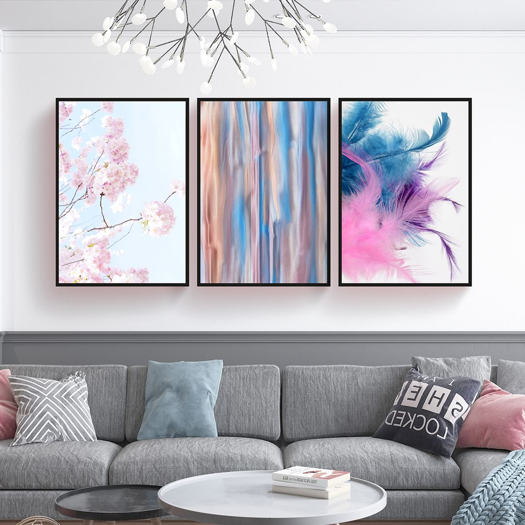 Soft Pink Floral Canvas Set