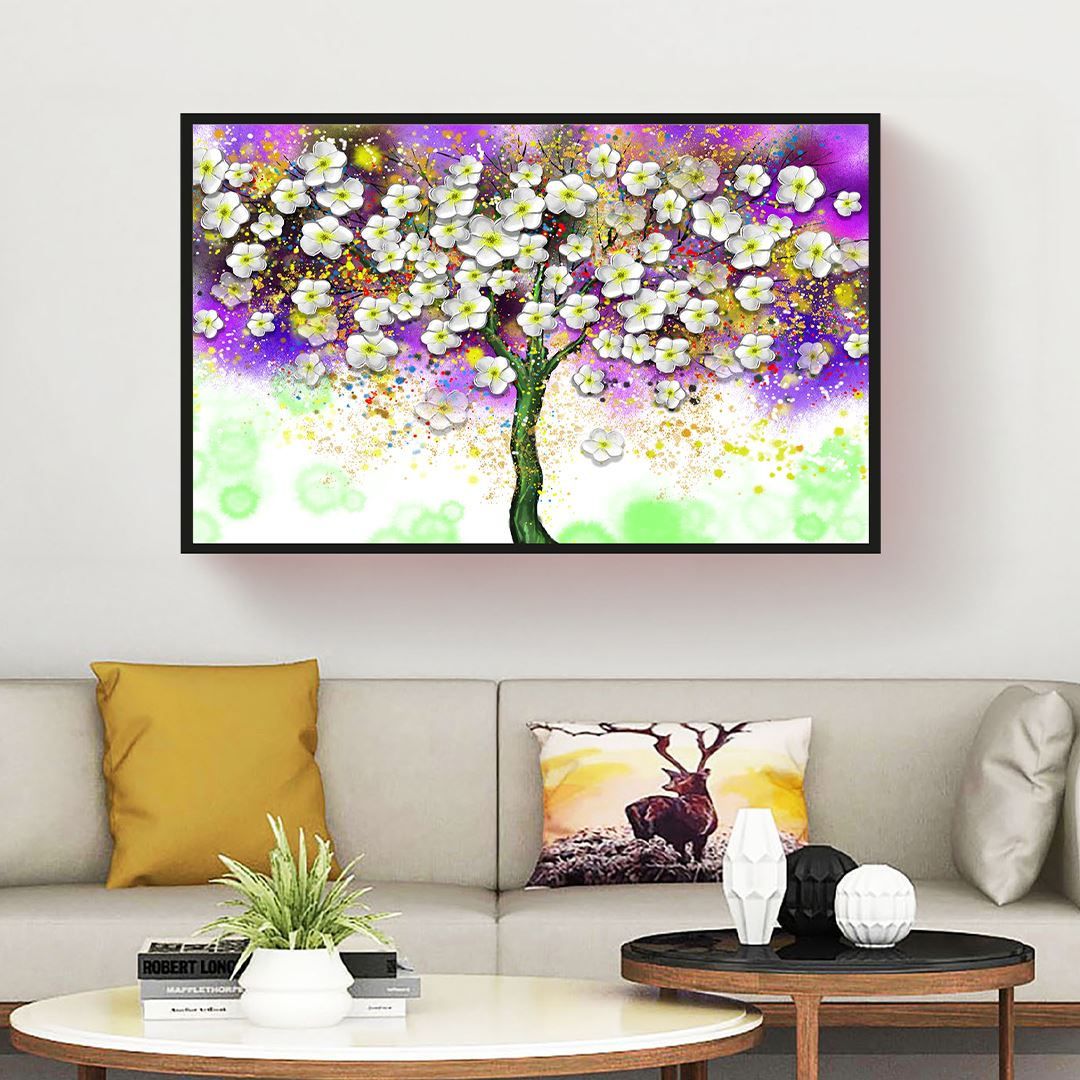 Modern Çiçekli Ağaç Kanvas Tablo