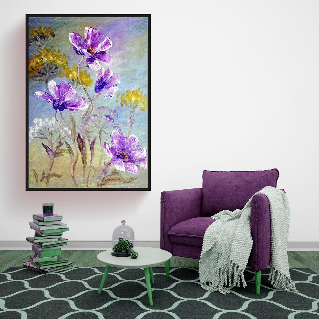 Modern Style Purple Flowers Canvas