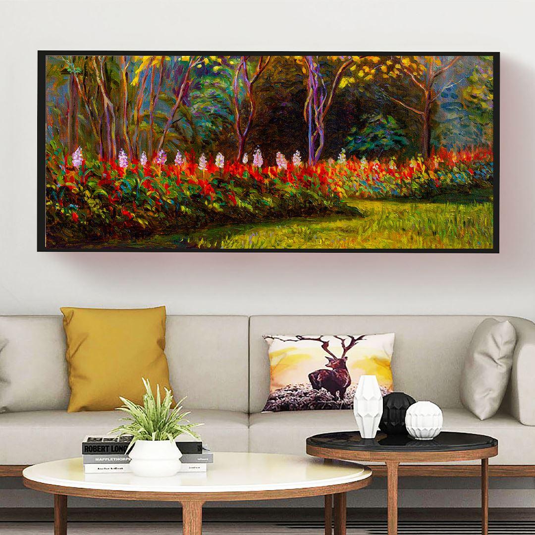 Oil Flowering Forest Panaromic Canvas