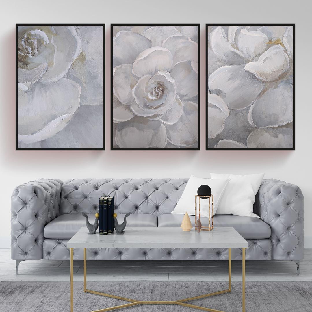 White Floral Canvas Set