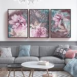 Soyut Çiçek 3 Parça Set Kanvas Tablo