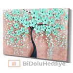 3D (KABARTMA) Görünümlü Mint Yeşili Yapraklı İnci Ağaç Kanvas Tablo