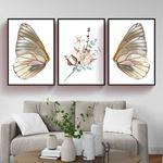Kelebek Kanatları & Çiçek 3 Parça Set Kanvas Tablo