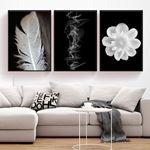 Beyaz Tüy & Çiçek & Soyut 3 Parça Set Kanvas Tablo
