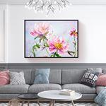 Natural Pink Large Floral Kanvas Tablo