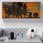 Savannah Günbatımı Filler Kanvas Tablo