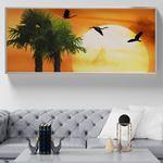Savannah Günbatımı Kuşlar Kanvas Tablo
