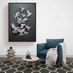 Güvercinler Kabartma Görünümlü Kanvas Tablo