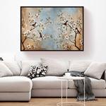 Çiçekli Ağaç ve Kuşlar Kanvas Tablo