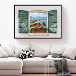 Deniz Manzarasına Açılan Pencere Kanvas Tablo