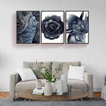 Metalic Flower Canvas Set