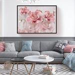 Kabartma Görünümlü Modern Çiçek Kanvas