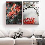 Red Flowering Tree Canvas Set