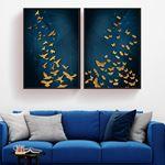 Altın Kuşlar ve Kelebekler Kanvas Set