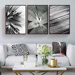 Siyah Beyaz Çiçek Kanvas Set