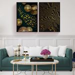 Modern Minimalist Altın Doku Kanvas Set