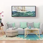 Yağlı Boya Görünümlü Panaromik Beyaz Yelkenli Kanvas Tablo