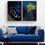Soyut Kelebekler ve Çiçek Kanvas Set