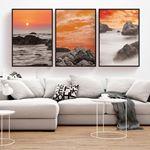 Gün Batımı Deniz Manzarası Kanvas Set