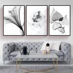 Black&White Flower Style Canvas Set